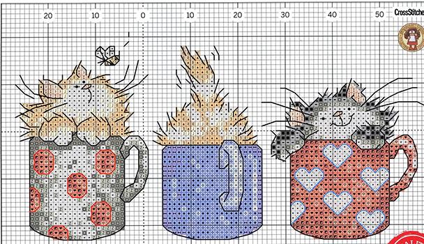 схема вышивки с котиками