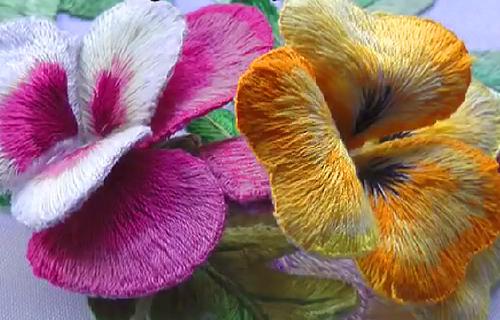гладьевый стежок цветы
